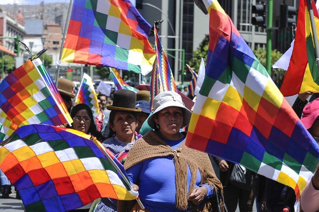 Des partisans de l'ex-président bolivien Evo Morales manifestent avec des wiphala à La Paz, le 18 novembre 2019.