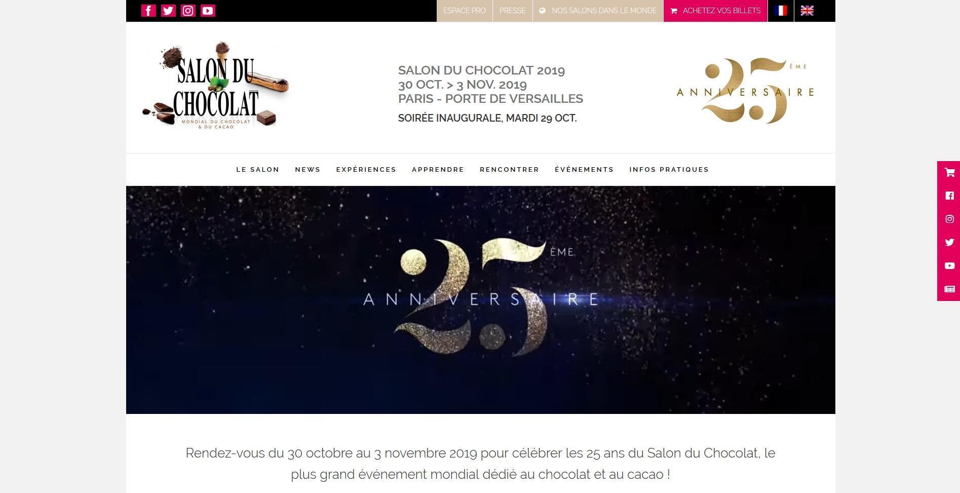 La page d'accueil du site internet du Salon du chocolat pour ses 25 ans.