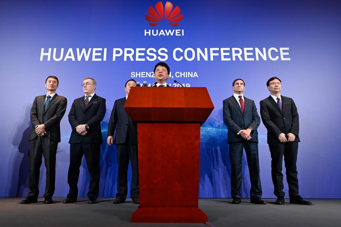 Le président de Huawei, Guo Ping, lors de la conférence de presse à Shenzen, le 7 mars 2019.
