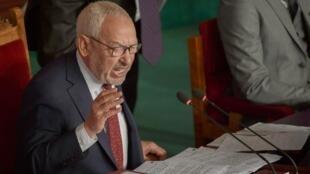 Rached Ghannouchi, président de l'Assemblée tunisienne et Le chef du parti Ennahdha, d'inspiration islamiste