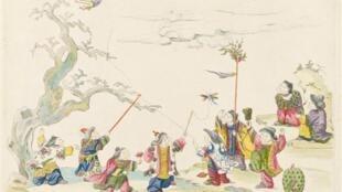 《中国图案集》中的插图之一表现了嬉戏的中国儿童