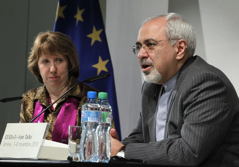 Министр иностранных дел Ирана Мохаммад Джавад Зариф и глава диполматической службы ЕС Кэтрин Эштон на переговорах в Женеве