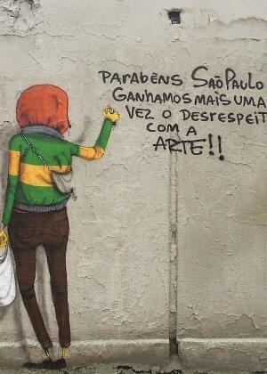 Post dos grafiteiros paulistas Gêmeos, de fama internacional