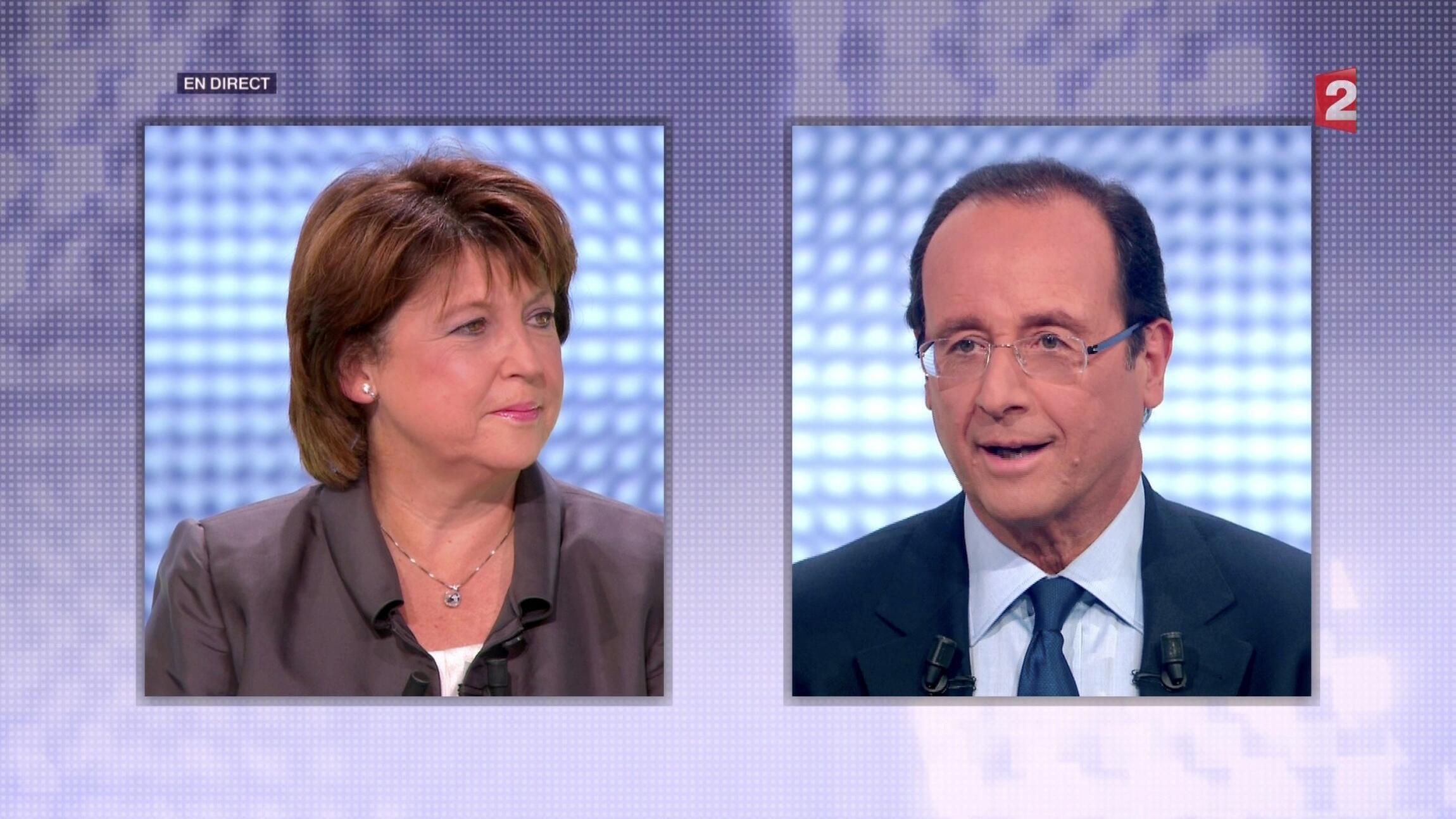 Martine Aubry (à esquerda) e Francois Hollande (à direita) disputam indicação socialista neste domingo.