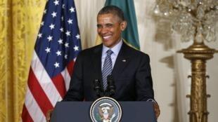 Tổng thống Obama trong cuộc họp báo chung với tổng thống Brazil tại Nhà trắng ngày 30/06/2015.