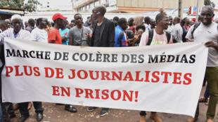 Manifestation de journalistes, le 2 avril 2019, à Conakry pour demander la libération de Lansana Camara, directeur du site d'information Conakrylive.info.