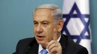 Le Premier ministre israélien Benyamin Netanyahu lors d'une conférence à Jérusalem, le 27 août 2014.