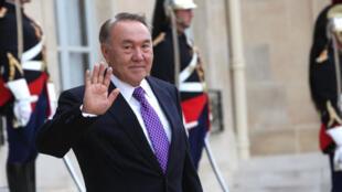 Palais de l'Élysée, le 19 septembre 2011. Noursoultan Nazarbaïev, président du Kazakhstan