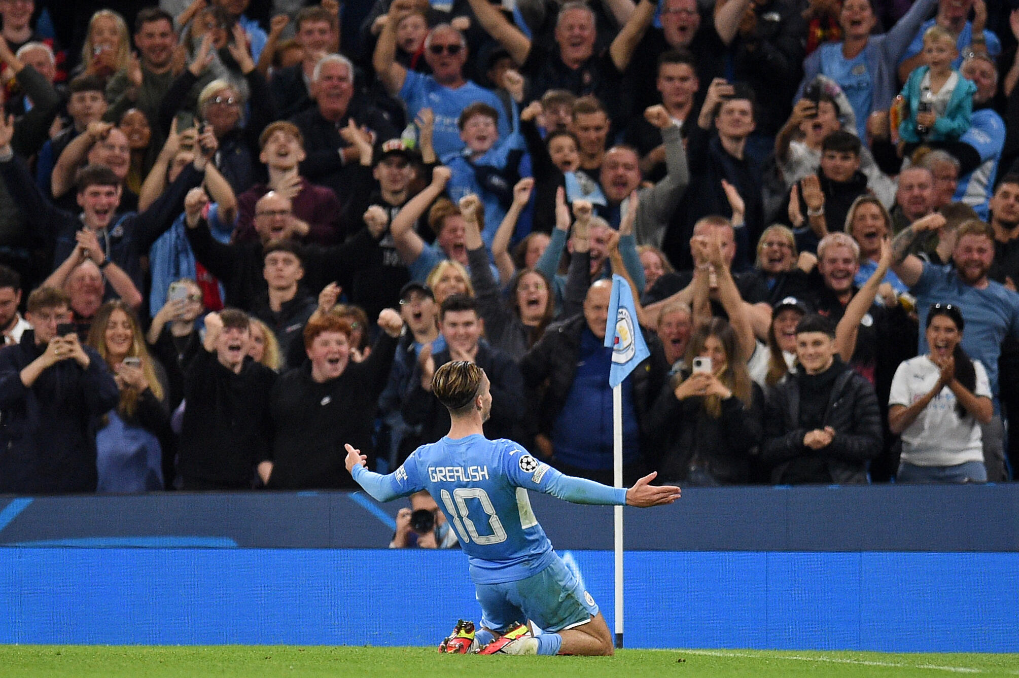 Jack Grealish celebrates scoring his first Champions League goal for Manchester City
