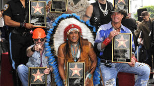 Village People receive their star on the Hollywood Walk of Fame Left to right – front row: David Hodo, Felipe Rose, Jeff Olson / back row: Ray Simpson, Alex Briley, Eric Anzalone – receiving Hollywood Walk of Fame star in 2008.