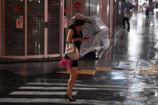 The streets of Tokyo during Typhoon Faxai, September 2019