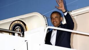 El presidente norteamericano Barack Obama a su llegada a Los Cabos para participar en la cumbre del G20