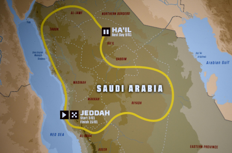 El recorrido del Rally Dakar 2021 sobre un mapa de Arabia Saudí, en una imagen tomada el 10 de junio de 2020 en París