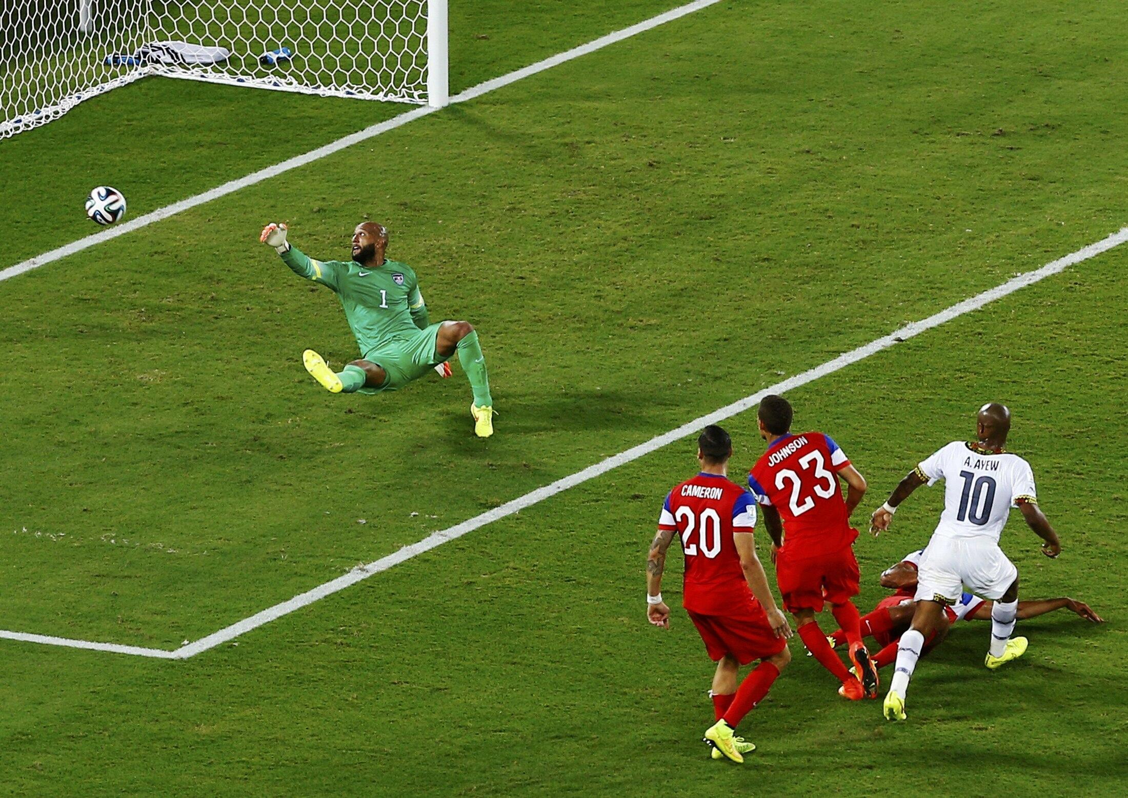 André Ayew akiifungia timu yake ya Ghana bao la kusawazisha dhidi ya Marekani, Ghana ilifungwa mabao 2-1