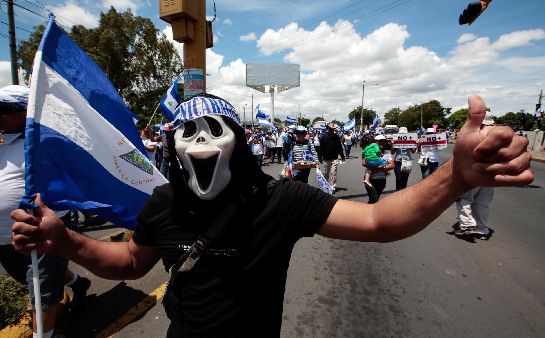 Un manifestant à Managua, Nicaragua, le 15 août 2018.