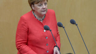 A mid-level employee in the press office of German Chancellor Angela Merkel, who is pictured here on July 3, 2020, stands accused of working for an Egyptian intelligence service