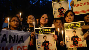Manifestation en soutien à Nido Tania, qui a succombé à ses blessures à New Delhi, au début du mois de février.