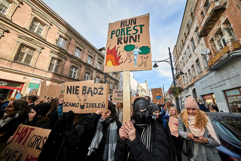 Манифестация в защиту климата в Лодзи, Польша, 20 сентября 2019.
