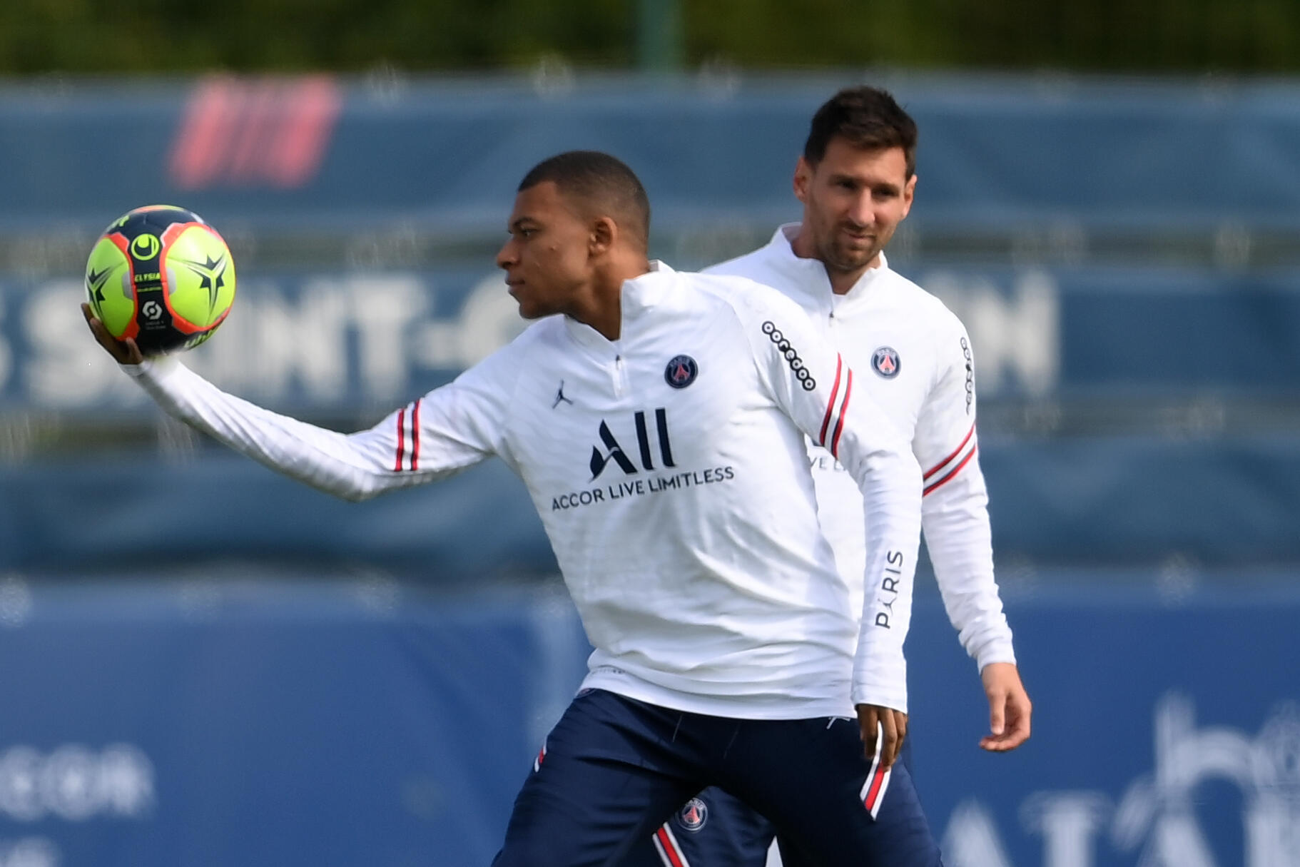 Lionel Messi with Kylian Mbappe. PSG play Club Brugge in their Champions League opener on Wednesday