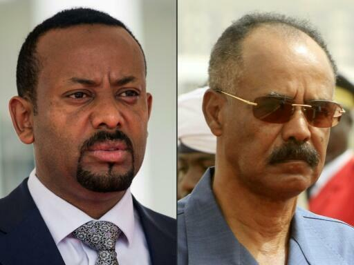 Ethiopia's Prime Minister Abiy Ahmed, on the left, and Eritrean President Isaias Afwerki.