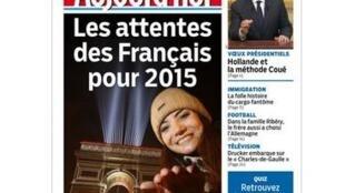 """As expectativas dos franceses"" é a manchete do Aujourd'hui en France deste primeiro dia de 2015."
