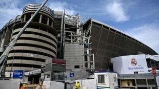 Le stade Santiago-Bernabeu, à Madrid, en travaux le 12 mars 2020.
