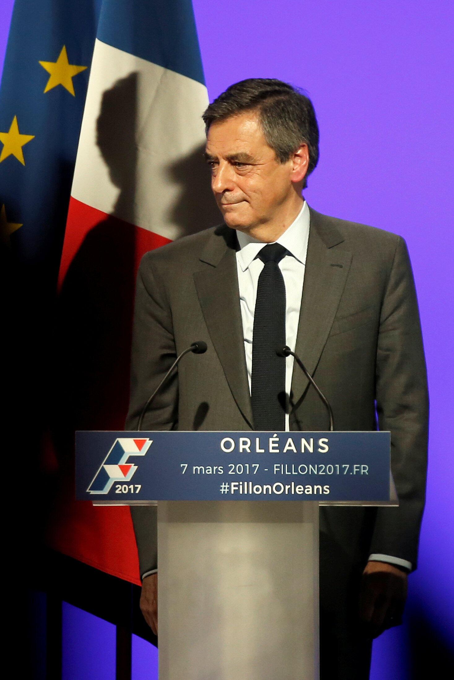 Ông Francois Fillon, ứng viên tổng thống Pháp, thuộc đảng Những Người Cộng Hòa, phát biểu tại cuộc mít tinh ở Orleans, ngày 07/03/2017