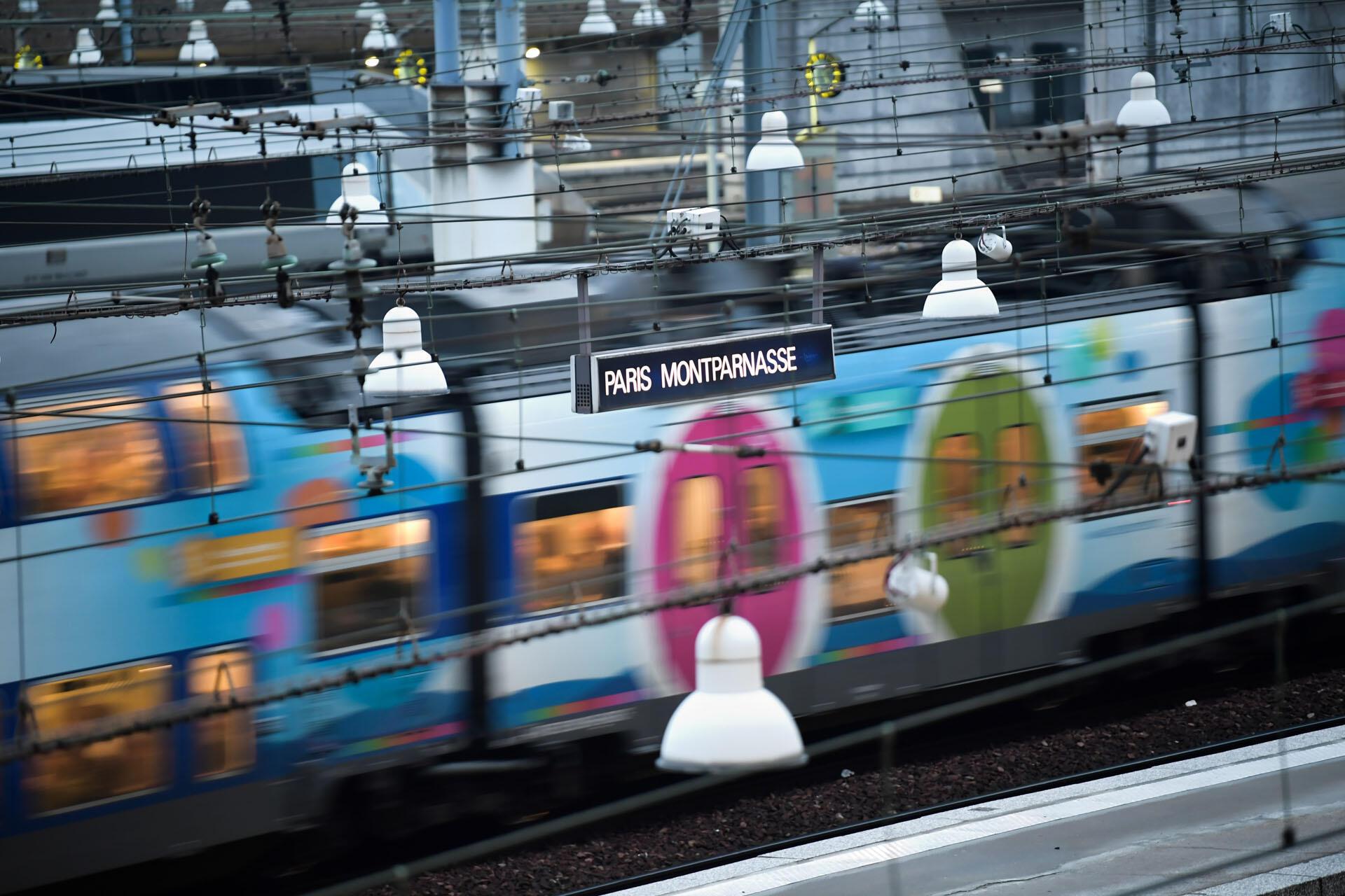 A train arrives at Montparnasse station in Paris.