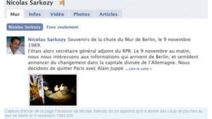 Capture d'écran du profil Facebook de Nicolas Sarkozy.