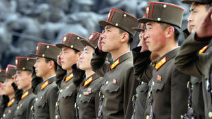 North Korean soldiers in Pyongyang on the 85th anniversary of the establishment of the country's army