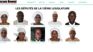 La page d'accueil de la plateforme de l'Observatoire citoyen de l'Assemblée nationale sénégalaise.