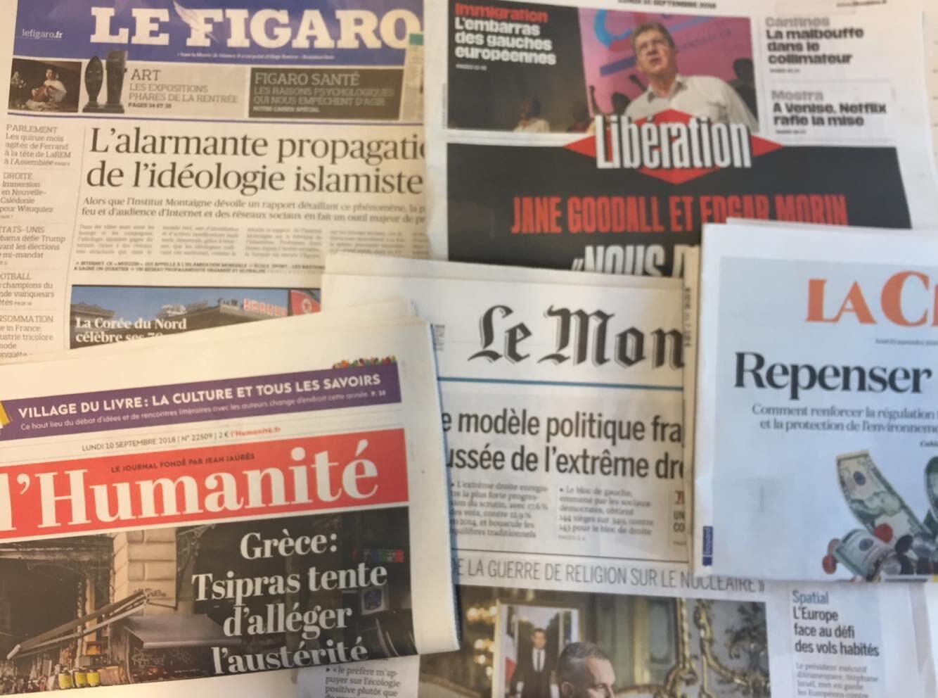 Primeiras páginas dos jornais franceses de 10 de setembro de 2018