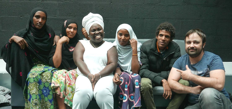 Fatou Seidi Ghali, Alamnou Akrouni, Mariama Salah Assouan, Madassane Ahmoudou, Dayme Arocena et Mathieu Petolla à RFI.