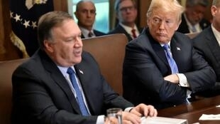 US Secretary of State Mike Pompeo, seen here at a recent cabinet meeting with President Donald Trump, plans to urge Iranians abroad to support anti-government protests in Iran