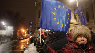 Protesters attend a demonstration near the Romanian Athenaeum during an official ceremony marking the start of Romania's EU Council Presidency in Bucharest, Romania, January 10, 2019.