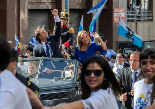 Uruguay's new President Luis Lacalle Pou (L) and Vice-President Beatriz Argimon at his inauguration in Montevideo