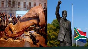 Fotomontagem das estátuas de Vladimir Lenine, o líder da revolução russa de 1917, no centro da capital ucraniana que foi derrubada por manifestantes e do Nelson Mandela  na prisão de Groot Drakenstein, África do sul.