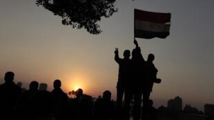 La joie des manifestants sur la place Tahrir.