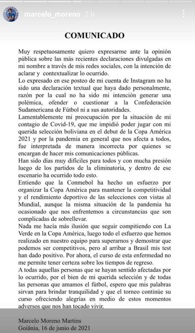 Comunicado del fútbolista boliviano Marcelo Moreno Martins para disculparse con la Conmebol.