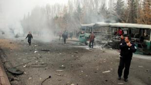 Zona  em  que foi cometido o atentado   em Kayseri, na  Turquia. 17  de Dezembro  de 2016