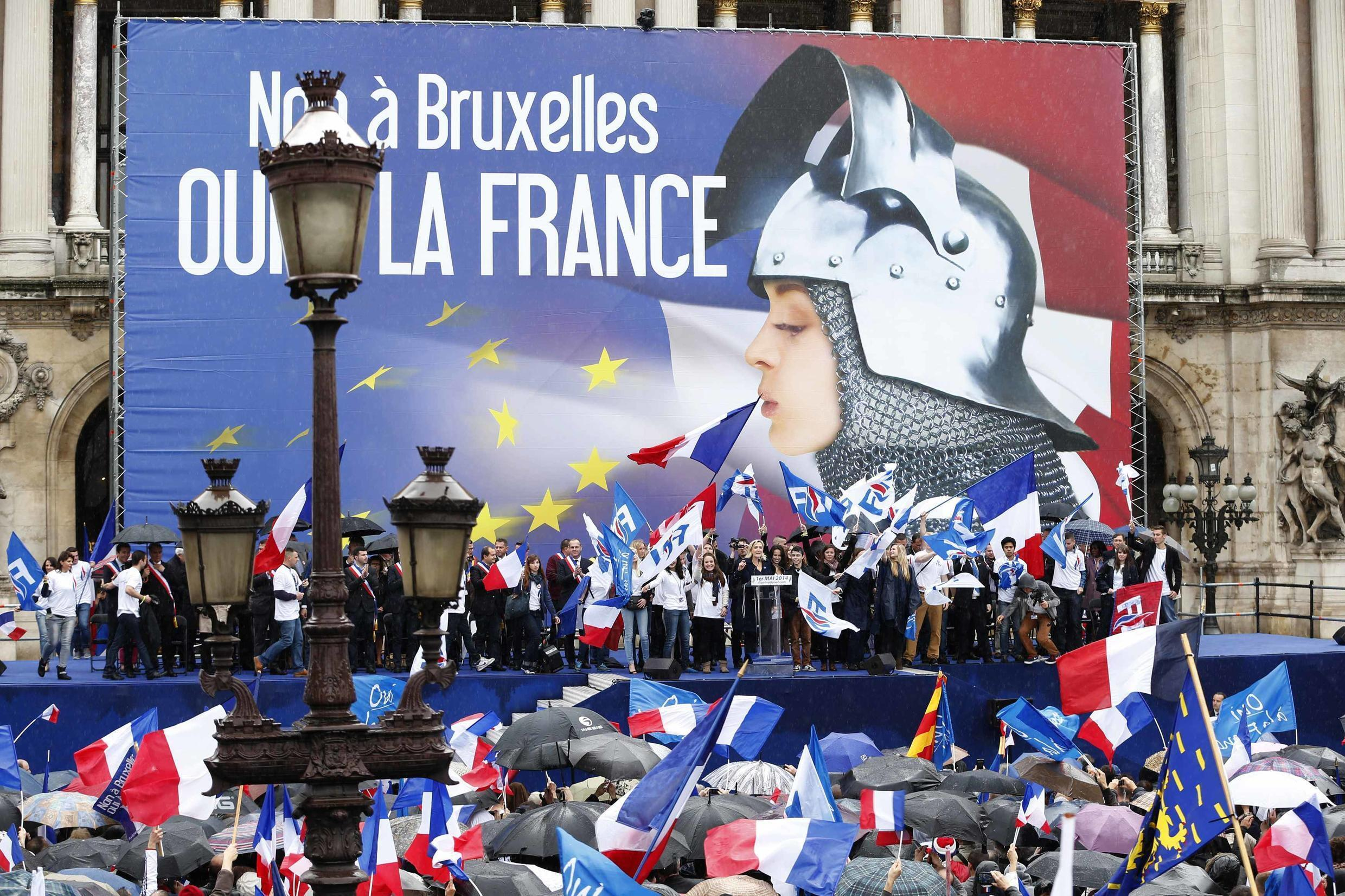 """""""No to Brussels, Yes to France"""" reads the Front National's banner at its May Day demonstration this year"""