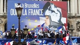 """No to Brussels, Yes to France"" reads the Front National's banner at its May Day demonstration this year"