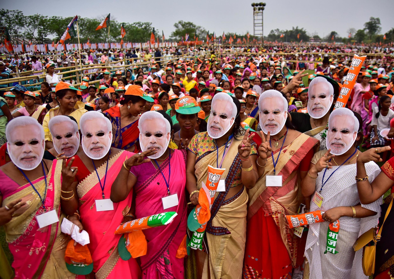 Partidarios de Bharatiya Janata Party (BJP), en un mitin de Narendra Modi en la ciudad de Moran, el 30 de marzo de 2019.