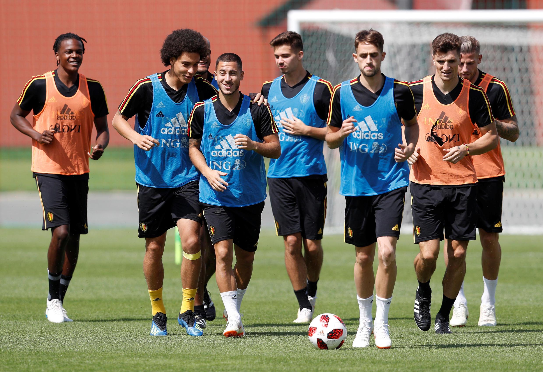 Các cầu thủ Bỉ luyện tập ngày 13/07/2018 tại nơi đóng quân gần Matxcơva chuẩn bị cho trận tranhngooi thứ 3 thế giới.