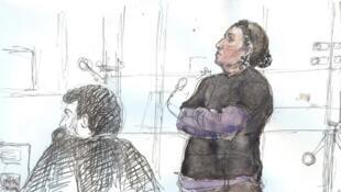 Christine Rivière durante seu processo em Paris, no dia 4 de junho