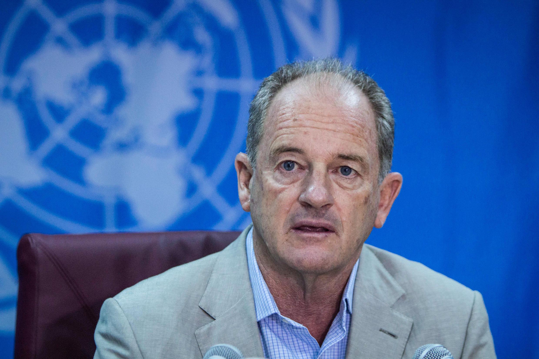 Le chef de la mission de l'ONU au Soudan, David Shearer, lors d'une conférence de presse à Juba le 10 septembre 2018.