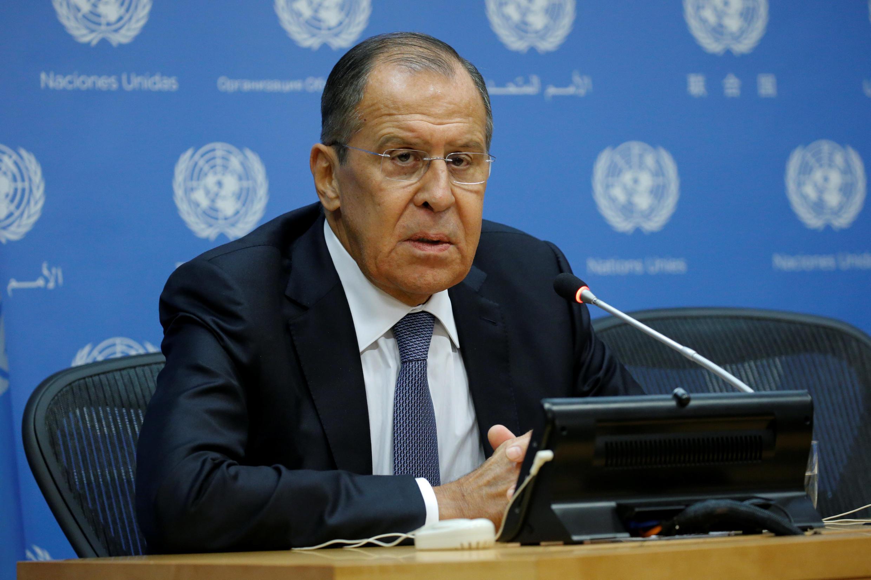 Ngoại trưởng Nga Lavrov trong một cuộc họp báo bên lề Đại Hội Đồng LHQ, ngày 28/09/2018.