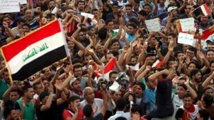 Manifestation contre la corruption au sud-ouest de Bagdad le 7 août 2015.