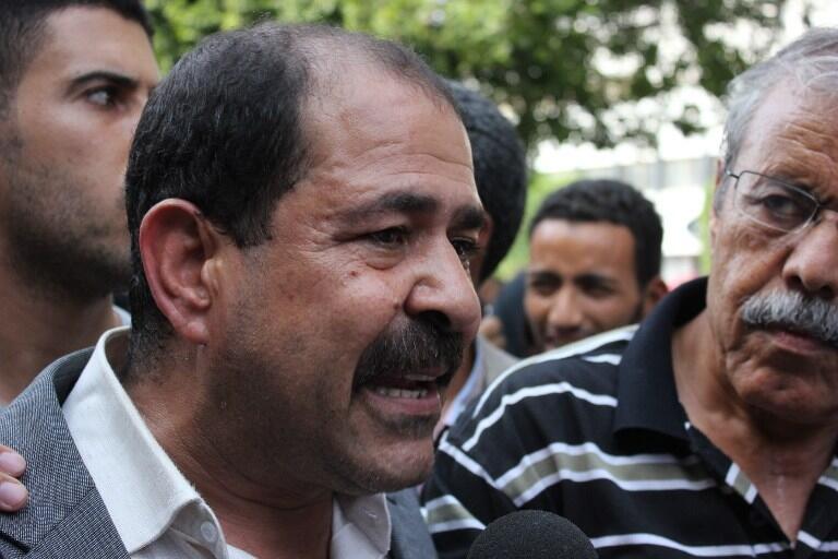 Chokri Belaïd lors d'une manifestation à Tunis, le 22 octobre 2012.
