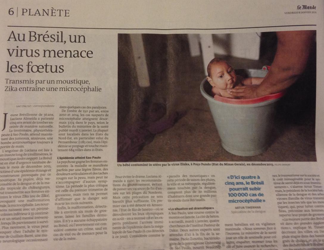 Em reportagem de página inteira Le Monde alerta para a epidemia de microcefalia no Brasil.